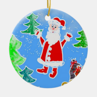 Santa Double-Sided Ceramic Round Christmas Ornament