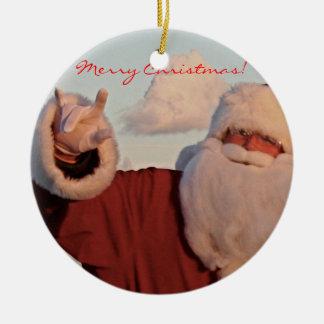 SANTA ORNAMENT- Merry Christmas! Ceramic Ornament