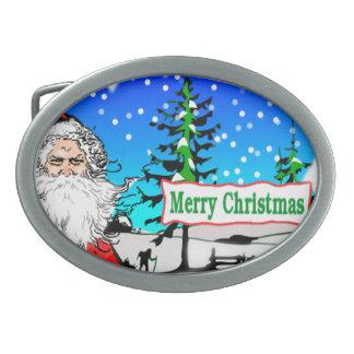 Santa Oval Belt Buckle