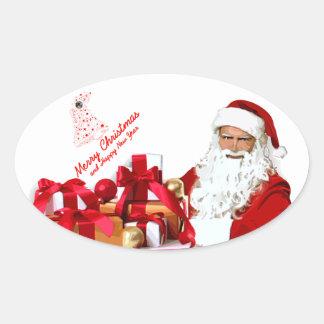 Santa Oval Stickers, Glossy Oval Sticker