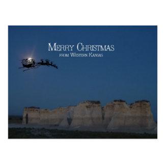 Santa over Monument Rocks Postcard