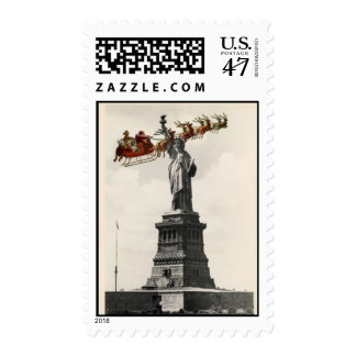 Santa Over New York American Christmas Stamp