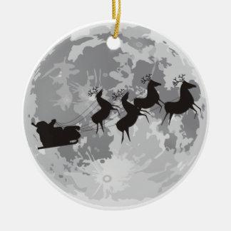 Santa Over The Moon Ceramic Ornament