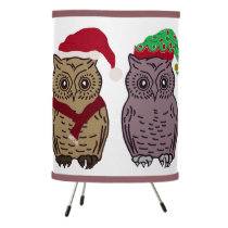Santa Owl and Elf Owl Tripod Lamp