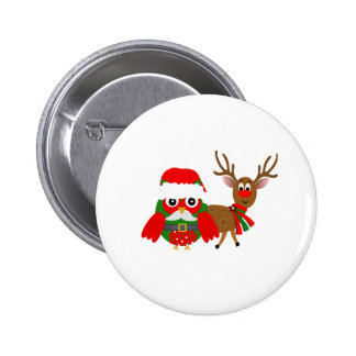 Santa Owl and Rudolph Pinback Buttons