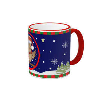 Santa Owl and Snowy world Mug