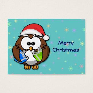 Santa owl business card