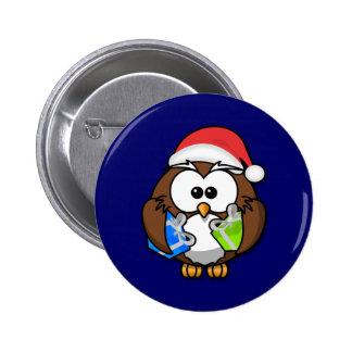 Santa owl pinback button