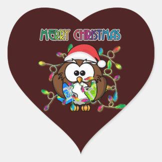 Santa owl & Christmas lights Heart Sticker