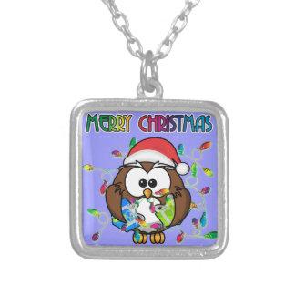 Santa owl & Christmas lights Custom Jewelry