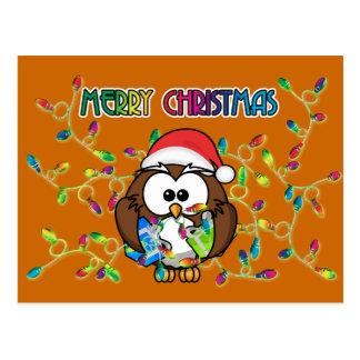 Santa owl & Christmas lights Postcard