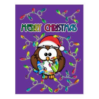 Santa owl & Christmas lights Post Card