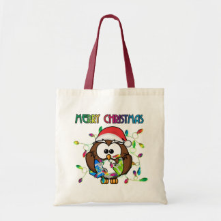 Santa owl & Christmas lights Tote Bag