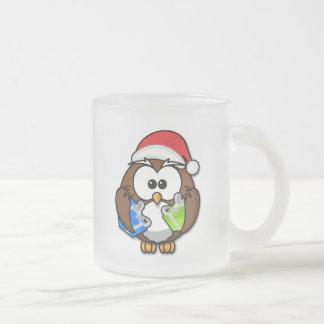 Santa owl frosted glass coffee mug