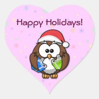 Santa owl heart sticker