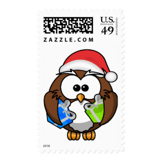 Santa Owl Holding Presents Postage Stamps