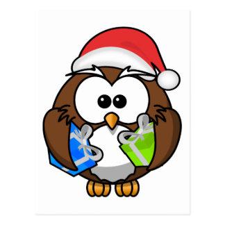 Santa Owl Holding Presents Postcard