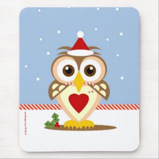 Santa Owl Holiday Mousepad