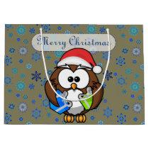 Santa owl large gift bag