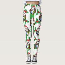 Santa Owl & Mistletoe Print Leggings
