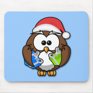 Santa owl mouse pad