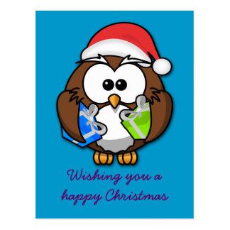 Santa owl post card
