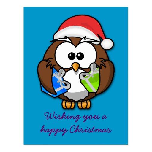 Santa owl postcard