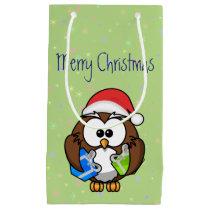 Santa owl small gift bag