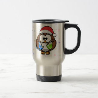 Santa owl travel mug