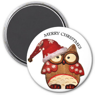 Santa Owl with a red Santa hat Magnet