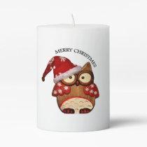 Santa Owl with a red Santa hat Pillar Candle