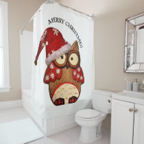 Santa Owl with a red Santa hat Shower Curtain