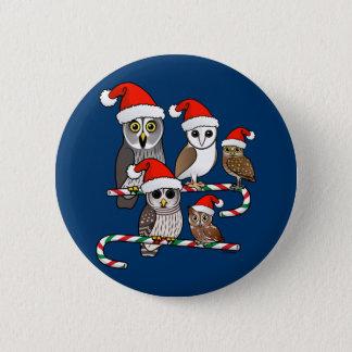 Santa Owls Button