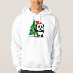 Men's Basic Hooded Sweatshirt with Santa Claus Panda design