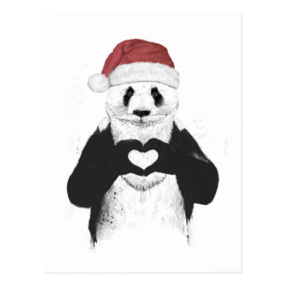 Santa panda postcard