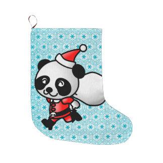 Santa Panda with snowflakes Christmas Stocking