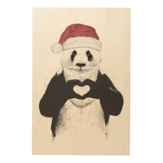 Santa panda wood wall decor