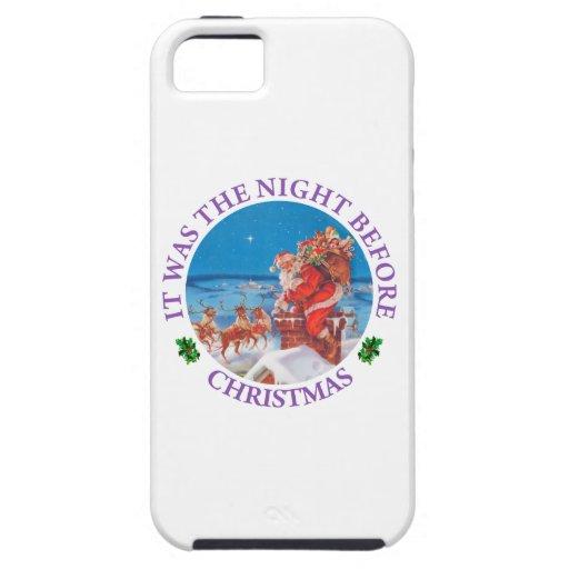 Santa para arriba en el tejado el Nochebuena iPhone 5 Fundas