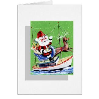 Santa Parade Boat Greeting Card