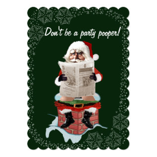 "Santa ""Party Pooper"" Funny Christmas Invitations at Zazzle"
