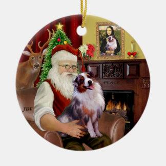 Santa - pastor australiano 1 adorno redondo de cerámica