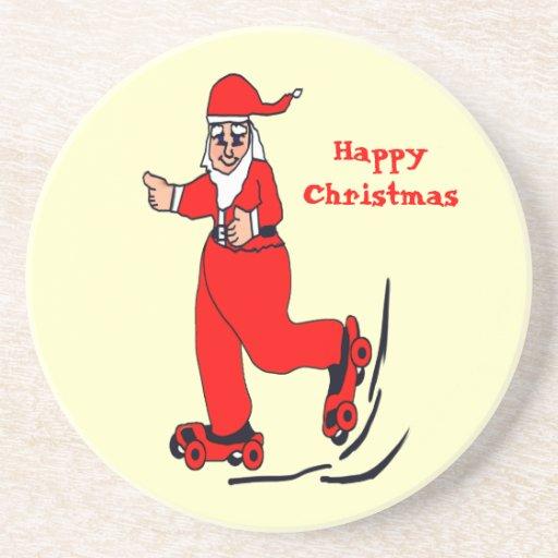 Santa patinador posavasos para bebidas