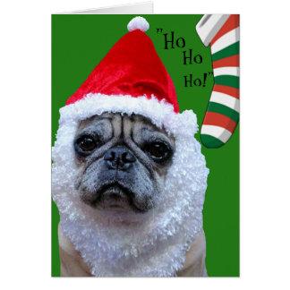 Santa-Paws Funny Pug Christmas/Holiday Card