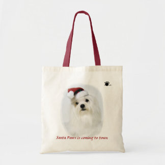 Santa Paws is coming to town tote Canvas Bags