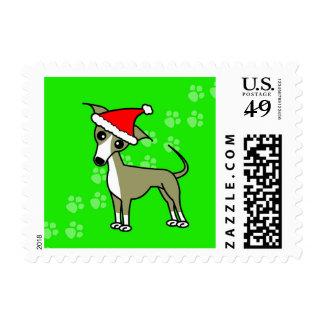 Santa Paws Italian Greyhound Green Postage Stamp