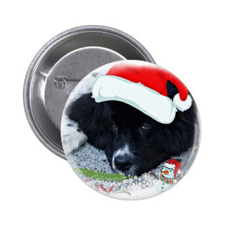 Santa Paw's Newfoundland Holiday gifts Pinback Button