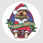 Santa Paws Round Stickers