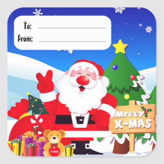 Santa Peace Sign Christmas Labels Square Stickers