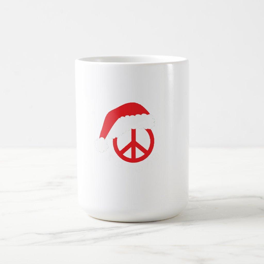 Santa Peace Sign Ho Ho Ho with Santa Hat Magic Mug
