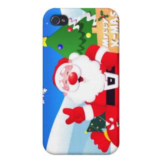 Santa Peace Sign Xmas iPhone 4/4S Covers
